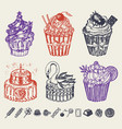 sweet cakes in vintage style tasty pastry doodle vector image vector image