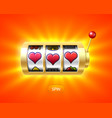 three heart symbols on gold slot machine vector image vector image