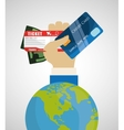 Travel credit card world tourism money ticket vector image