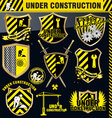 under construction shield - set vector image
