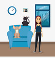 young woman with mascot in the house vector image vector image
