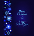 merry christmas card with blue snowflake vector image