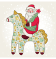 Cute card with Santa Claus and horse vector image