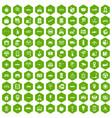 100 navigation icons hexagon green vector image vector image
