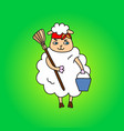 a sheep housewife with a bucket and a mop drawing vector image