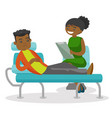 african psychologist having session with patient vector image vector image