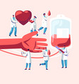 blood donation male female characters in medical vector image