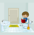 boy with book using the toilet vector image vector image