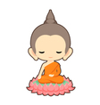 Buddha sitting on lotus flower character design vector image vector image
