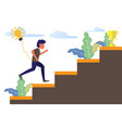 business man running on stair to success trophy vector image