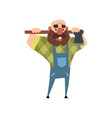 cartoon character of bearded man with axe funny vector image vector image