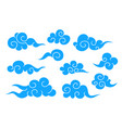 collection of blue chinese cloud symbols vector image vector image