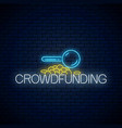 crowdfunding neon symbol glowing neon sign of vector image vector image