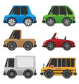 cute cars and trucks vector image vector image
