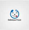 delicious face food concept logo icon element vector image