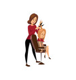 female hairdresser cutting hair of young woman vector image