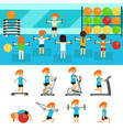 fitness infographic elements flat vector image