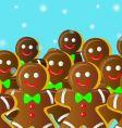 gingerbread man on snowfall vector image