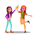 girlfriends at party clinking beer glasses vector image vector image