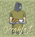 gorilla with croissant and coffee vector image vector image