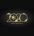 happy new 2020 year shiny gold text and snowflake vector image