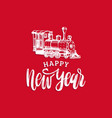 happy new year hand lettering with toy vector image vector image
