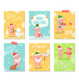 hello winter joy of winter merry christmas cards vector image vector image