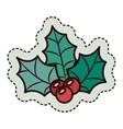Leaves and berry of merry Christmas design vector image vector image