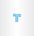 letter t blue line logo vector image vector image