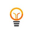 Light bulb isolated logo orange lamp vector image