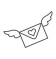 love letter thin line icon message and envelope vector image vector image
