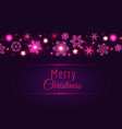 merry christmas card with pink snowflakes vector image vector image