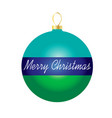 merry christmas on striped ornament vector image vector image