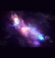 night starry sky purple nebula and milky way vector image