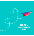 Paper plane with two hearts Dash line independence vector image vector image