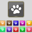 paw icon sign Set with eleven colored buttons for vector image vector image