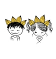 Prince and princess with crown on head for your vector image vector image