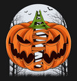 scary divided halloween pumpkin split in two vector image vector image