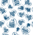 seamless pattern hand-drawn hearts isolated on vector image