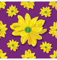 seamless pattern with yellow flowers on violet vector image vector image