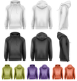 Set of different colored male hoodies vector image vector image