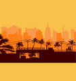 silhouette palm tree on beach and cityscape under vector image vector image