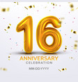 sixteen anniversary celebration number vector image vector image