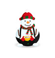 snowman with hot chocolate vector image vector image