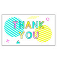 thank you poster geometric figures in linear style vector image