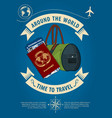 time to travel banner or poster with travel bag vector image