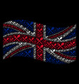 waving british flag pattern of fork and spoon vector image