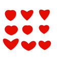 isolated abstract red color hearts of different vector image
