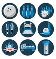bowling flat icon set vector image