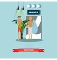 Men taking shower in fitness center concept